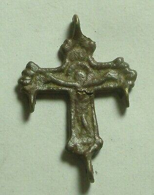 Genuine Original Byzantine bronze artifact intact cross pendant Christ Crusifix