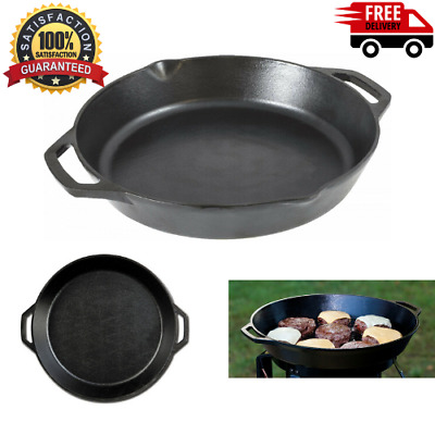 Lodge Seasoned Cast Iron Dual Handle Pan , 12 Inch Diameter Skillet  Pan