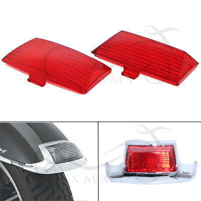 2X Front Rear Mud Guard Fender Tips Light Red Lens For Harley Dyna Touring FLSTF