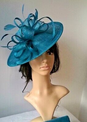Fascinator Winter Teal Sinamay & Feather Shaped saucer fascinator ,Wedding.races