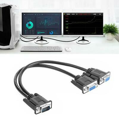 VGA Splitter Cable 1 Computer to Dual 2 Monitor Adapter Male to Female Wire /B