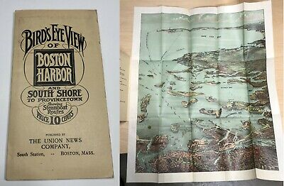 Bird's Eye View of Boston Harbor Massachusetts c1890s Folio Antique Map Pamphlet