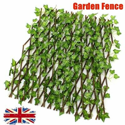 Artificial Faux Ivy Leaf Hedge Panels On Roll Expandable Garden Screen Fence UK