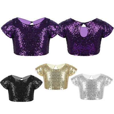 Kids Girls Sequins Crop Tops Party Dance Sparkly Camisole T-shirt Tank Top 2-12Y