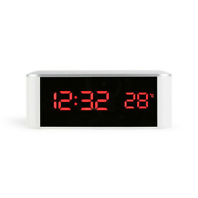 LED Mirror Digital Snooze Alarm Clock Desk Table Home Electronic Thermometer