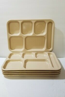 Vintage Dallas Ware Cafeteria School Biege Lunch Tray Lot of 5