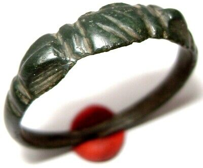 Ancient Very Rare Medieval bronze wedding ring  with CLASPED HANDS on bezel.