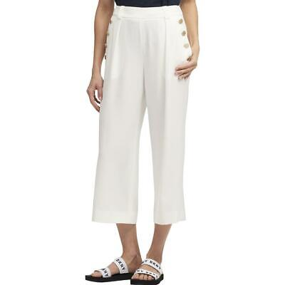 DKNY Womens Ivory Cropped High Rise Sailor Pants Trousers 12 BHFO 4596