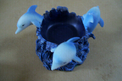 Three Jumping Dolphin in Waves Resin Candle Holder By Direct Connection