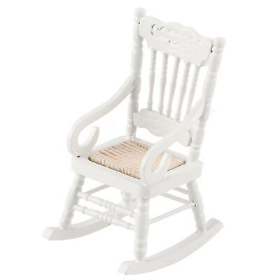 White Wood Rocking Chair for 1:12 Doll House Miniature Living Room Tackle