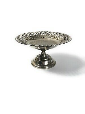 VINTAGE SILVER PLATE CUTOUT Incised Braided PIERCED PEDESTAL FOOTED BOWL DISH