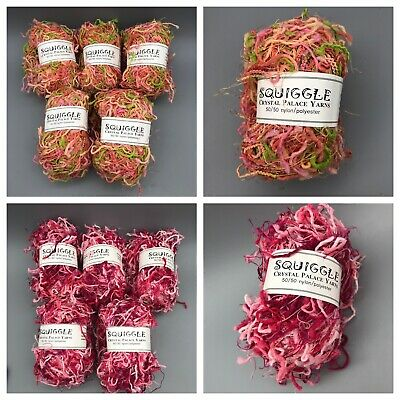 Crystal Palace Yarns Squiggle #9547 Tulips Pinks Green Pig-Tail Carry-Along!