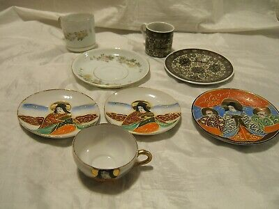 Small Vintage Japanese China / Porcelain? Cup + Saucers + Espresso Cup & Saucer+