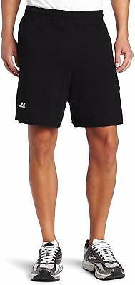 Russell Athletic Men's Cotton Baseline Short With Pockets, Black, Large