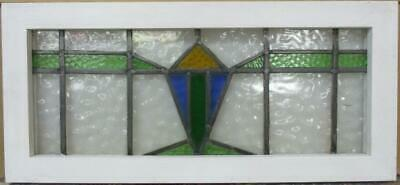 "MIDSIZE OLD ENGLISH LEADED STAINED GLASS WINDOW Nice Geometric 26.5"" x 12.25"""