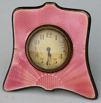 Antique Pink Enamel Sterling Silver .925 Table Shelf Mantle Clock Swiss Art Deco