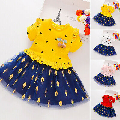 Children Girls dress Kids Toddlers Party Printed Casual Girls dress Round Neck