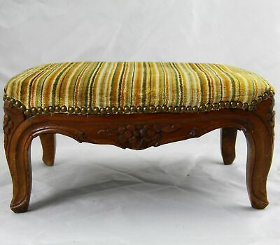 Antique French Louis XIV Carved Walnut Foot Rest Footstool
