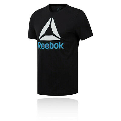 Reebok Mens QQR Stacked T Shirt Tee Top - Black Blue Sports Gym Breathable