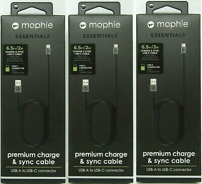 Mophie Premium Charge & Sync USB-C 2 Meter Braided Cable USB Type C Black 3-Pack