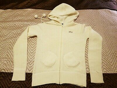 Roxy knitted Jumper Size M 10 12 woolly hooded zipped cream pompons pockets vgc
