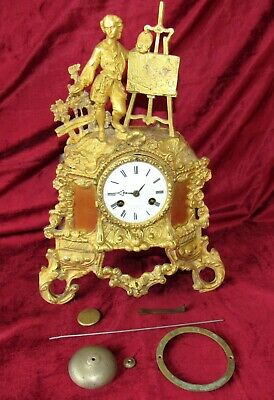 An Early French Silk Suspension Ormolu Mantle Clock With Figure