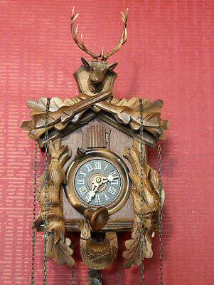 Old Miniatur Clock Cuckoo Wall Clock Black Forest  Made in Germany