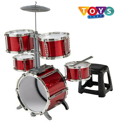 Musical Red Drum Kit Kids Toy Set Instrument Toys Christmas Gift Play Children |