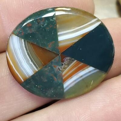 Old Antique SCOTTISH AGATE Blood Stone Oval Pie Cut STONE STERLING Silver BROOCH