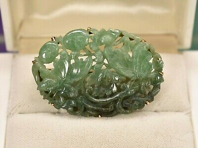 Antique 14k gold Chinese carved natural untreated jade floral brooch