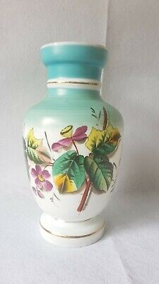 ANTIQUE LATE 19th CENT HANDPAINTED TURQUOISE& MILK GLASS MANTLE VASE w ROSE HIPS