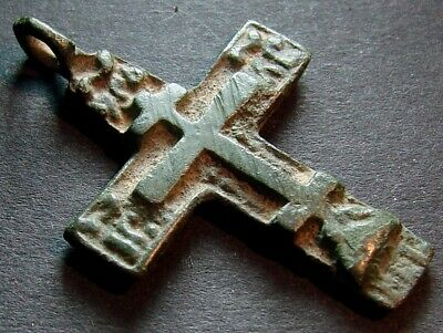 ANCIENT BRONZE CROSS RARE. RELIGIOUS ARTIFACT 17 CENTURY. 35 mm. (R.017)