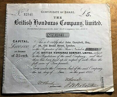 BRITISH HONDURAS £5 SHARE CERTIFICATE of 1863 with EMBOSSED SEAL & GREAT # 12341
