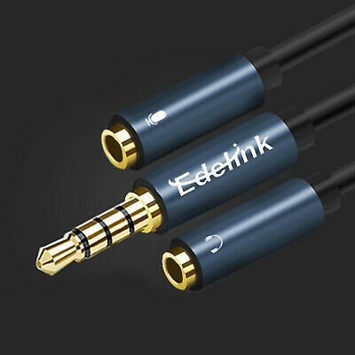 EDELINK Audio Extension Cable Headphone Aux Lead 3.5mm Male to 2 Port 30CM UK