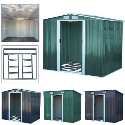 Metal Garden Shed 10x8, 8x8, 6x8ft Outdoor Steel Tool Sheds with Free Foundation