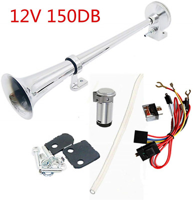 Electric Air Horn Single Trumpet Chrome Zinc with Compressor 17.7 inches Single Tube 12V 150db 450mm Super Loud for Lorries Boat Yacht Bus