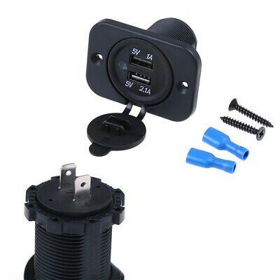 Dual 2USB outlet 2.1A&2.1A port sockets charger for car boats motorcycles 12v ZS