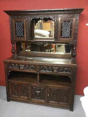 Antique Carved Oak Stained Glass Dresser / Sideboard  Sn-404b