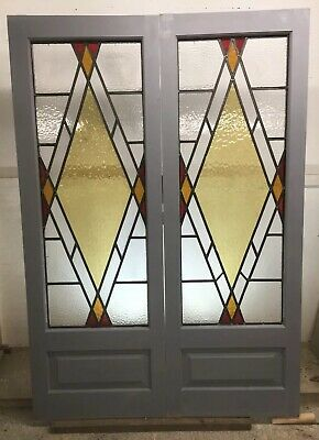 1920 30s ART DECO FRONT DOORS RECLAIMED FRENCH LEAD STAINED GLASS PERIOD ANTIQUE