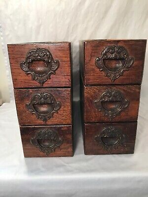 "6 Antique Treadle Sewing Machine Oak Drawers 3R 3L No Frames Dark Stain 16 1/8""L"