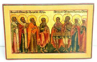 19c. RUSSIAN IMPERIAL ORTHODOX RELIGIOUS ICON SELECTED SAINTS OIL PAINTING CROSS