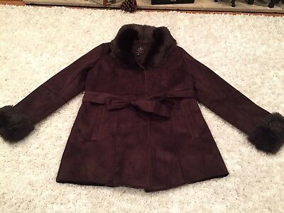 Issac Mizrahi Faux Shearling Coat Turnkey Closure Fur Lining Tan//Purple 3X /& XXS