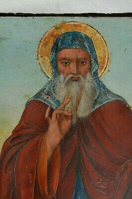 19c RUSSIAN GREEK CHRISTIANITY ORTHODOX RELIGIOUS ICON  St. ANTHONY OIL PAINTING