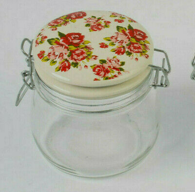 Two Small Kilner Glass Jars 10cm x 10cm Ceramic Floral Lids Arts Crafts Storage