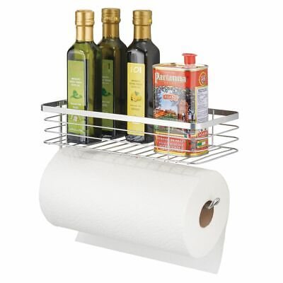 mDesign Metal Wall Mount Paper Towel Holder & Spice Rack Shelf - Chrome