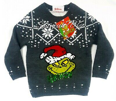 NEW Primark girls/ kids grinch sequin knitted novelty Christmas jumper Charcoal