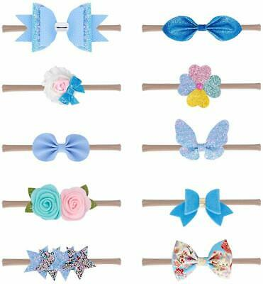 Xiaoyu 10Pcs Baby Girls Headbands And Bows, Newborn Infant Toddler Hair Accessor