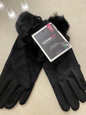 Thermaxx Furry  Soft Comfortable Womens Ladies Winter Gloves Black