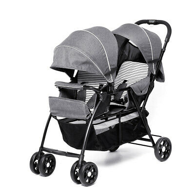 2 in 1 Grey Tandem Double Pram Twin Stroller New Born Toddler Baby Jogger