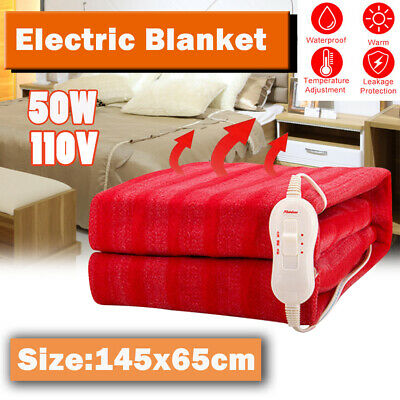 Electric Heated Throw Cream Over Under Blanket Fleece Bed Washable Soft Mattress
